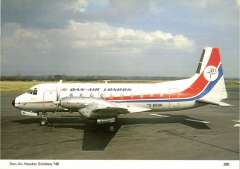 (Ephemera) Dan Air HS 748 on tarmac, in company livery, colour ppc of official photo with technical details verso. with technical details verso.