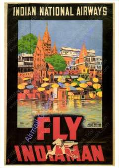 """(Ephemera) Indian National Airways, attractive unused reproduction  ppc taken from an original INA red/blue/yellow and orange poster, showing artist's impression of Hindu Bathing Huts on the Ganges, with """"Fly Indiaman"""" and winged horse logo."""