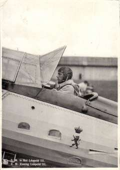 """(Ephemera) Belgium,1939, July 12th, propaganda B&W PC issued for 2nd International Aero Exhibition unused but franked 35c canc special postmark and verso B&W photo """"SM le Roi Leopold III"""" siiting in cockpit of plane."""