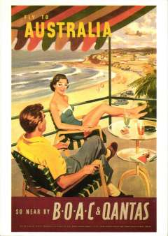 """(Ephemera) BOAC/Qantas, attractive unused reproduction  PPC taken from an original red/blue/brown and orange poster, showing artist's impression of holiday makers overlooking ?Bondai Beech, with """"Fly to Autralia/So Near by BOAC & Qantas""""."""