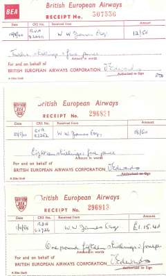 (Ephemera) BEA, three receipts for purchase of F/F covers, 1958-60,