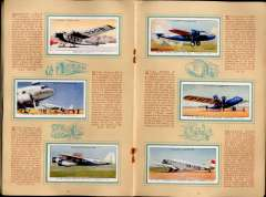 (Ephemera) Album of 50 cigarette cards of International Air Liners, published 1930's, by John Player, inc IAW 5, Sabena 3, DLH 6, KLM 4, Swissair 4, Pan Am 2, Qantas 2, etc, with detailed text by each. Album covers a trifle grubby, otherwise fine.