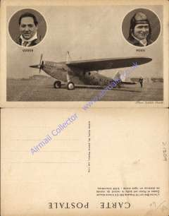 (Ephemera) Pilots Codos and Rossi, head and shoulders picture inserts above picture of their world record breaking Bleriot Hispano 500, F ALCC in August 1933, super original sepia ppc.