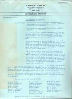 (Ephemera) Air Investors Inc. Investment Statistical Report, 4 page investment report prepared by Frear & Company on Air Investors Inc. (an aviation investors group), discusses financial situation of Air Investors Inc. September 1929. Some stains, overall conditon good.