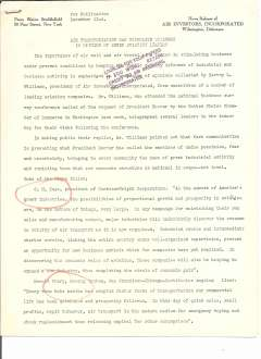 """(Ephemera) Air Investors Incorporated, Wilmington, Delaware, News Release, """"Air Transportation Can Stimulate Business is the Opinion of Seven Aviation Leaders"""", two original typed script copies, embargoed for publiation on December 22nd (1929), very good condition."""