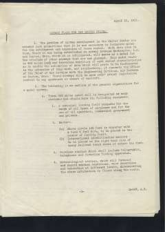"""(Ephemera) """"Airway Plans for the United States"""", typed 6 pages, 1921, issued by the War Department, Office of the US Chief of Air Service. Good condition."""