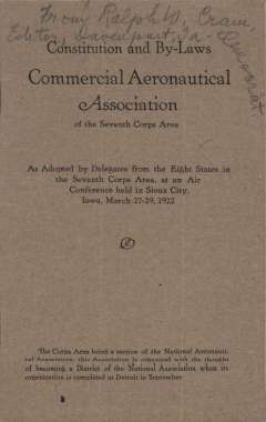 """(Ephemera) Commerical Aeronautical Association of the Seventh Corps Area, constitution and by laws, 3.5x5.5"""" staple bound booklet, 15 pages, March 27-29, 1922."""