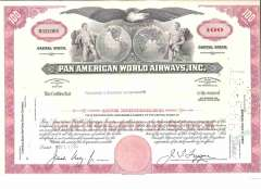 """(Ephemera) Pan American World Airways share certificate for 100 shares, 12""""x8"""", issued Nov 14th, 1966, fine."""