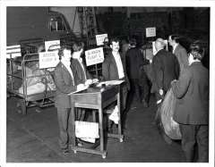 (Ephemera) Speke Airport, official B&W photgraph, 20x16cm,  taken in July 1979, in the airport's first month of operation as the hub of the new comprehensive night airmail service. The photo shows airport postal staff assembling mail at night for flights to Bristol, Glasgow, Newcastle and Belfast. Also a copy of a five page article, by Beith, on the Night Air Mails from Speke Airport.