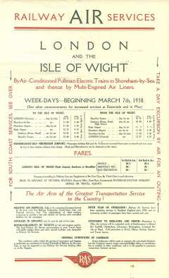 """(Ephemera) Railway Air Service, original red/green/cream company notice, 13""""x8"""", issued March 7th, 1938, advertising the South Coast Bournmouth/Southampton/Brighton/IOW service on one side, and The London-Isle of Wight Service by air conditioned electric Pullman to Shoreham on Sea then multi-engined air liner to IOW, on the other. Gives fares, times, and booking data. Scarce item in fine condition."""