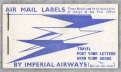 (Ephemera) Imperial Airways, 1931 complete booklet, containing three vertical strips of 4 blue/white etiquettes, advertising travel to 'Paris & All Parts of the Continent', Mair GBR-B-1. Fine and scarce.