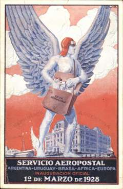 """(Ephemera) Aeropostale, unused red/white/blue/back souvenir PPC issued in 1928, showing a winged messenger standing over the central post office of Buenos Aires with text """"Servicio Aeropostal/Argentina-Uruguay-Brasil-Africa-Europa/Inauguracion Oficial/1 de Marzio de 1928"""", issued to commemorate the inaugural air-ship service by Aeropostale between Argentina and Europe, illustrated Collot and Cornu, 'Ligne Mermoz', p96 . Tiny lower lh corner bend, otherwise fine."""