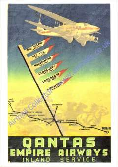 """(Ephemera) Qantas, attractive unused multicoloured PPC published by Qantas Historical Archives showing artist's impression of DH VII USL 'Brisbane' flying over  a map of the Daly Waters-Brisbane route with signpost showing distances of Longreach, Cloncurry, Normanton, Mt Isa and Daly Waters from Brisbane,  with """"Qantas/Empire Airways/Internal Service"""" logo."""