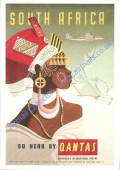 """(Ephemera) Qantas """"South Africa So near By Qantas"""" with route map and profile of female in native head dress, unused multicoloured repro PPC from Qantas Historical Archives."""