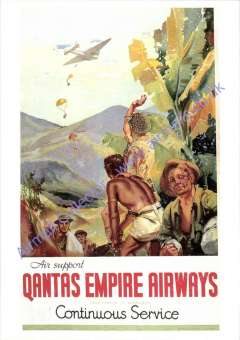 """(Ephemera) Qantas Empire Airways support role in WWII, """"Air Support ..Continuous Service"""" showing parachutes dropping from plane flying over jungle combat troops, unused multicoloured repro PPC from Qantas Historical Archives."""