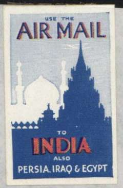 """(Ephemera) Imperial Airways label, """"Use the Air Mail/to India/ also Persia, Iraq and Egypt"""", blue/pale blue/red, 5x3cm, unmounted mint, GB 49, scarce."""