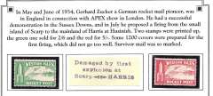 (Ephemera) Two stamps printed for Zucker's experimental rocket flights between Scarp and Harris, in Hebrides, 28th July 1928, 2/6 green and 5/- red, both lightly mounted mint,