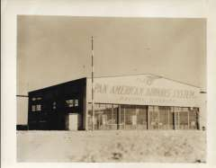 (Ephemera) Pan American Airways Pacific Division  storage shed, somewhere along the Trans-Pacific route, c 1937/8, a fine B&W photograph of the period, not a photoscan reproduction, 25x20cm