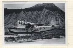 (Ephemera) Pan American Clipper, Sikorsky S-42, in flight on Survey Flight #4 1935, flying past Diamond Head Hawaii, a fine B&W photograph of the period, not a photoscan reproduction, 12x8cm.