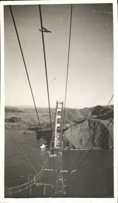 (Ephemera) China Clipper, Martin M130, flying over the unfinished Golden gate Bridge on inaugural flight to the Orient, carrying the first airmail to the Philippines, a fine B&W photograph of the period, not a photoscan reproduction, 25x20cm, 22/11/ 1935.