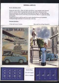 (Ephemera) The Blue Airmail Letter Box', a nice 1pp exhibit mounted on album leaf , with text, two PPC's and 934 & 1936 booklet panes.