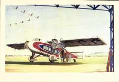 (Ephemera) Bimotor monoplane in red/white and blue livery, reg C-AGCC, on tarmac with passangers waiting to embark, a beautiful illustration from Pirelli calendar, circa late 1920's.