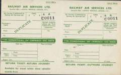 (Ephemera) Railway Air Services Ltd, duplicate (unused) single page of passenger ticket (ref C0011) for outward and return journey, valid for three months, with spaces for completion of information on air carrier, if additional to RAS, fare, passenger's name, flight origin and destination, date, etc., green/cream, 1pp, 20x12cm.