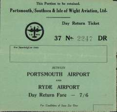 (Ephemera) Portsmouth, Southsea & Isle of Wight Aviation Ltd, retained portion of outward and return day return 7/6d ticket between Portsmouth Airport and Ryde Airport, with Conditions of Issue on inner two pages, green/black, 4pp, 11x12cm. Company formed in 1932, first mail carried 1934.