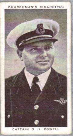 (Ephemera) Captain G.J.Powell joined Imperial Airways in 1930 aged 23 and, in 1937, made the the fastest flight across the Atlantic between Botwood and Foynes in the flying boat Cambria. In 1938 he was appointed operating manager of the Imperial Airways service between Bermuda and New York, sepia head and shoulders photo, 7x3cm, on Churchman's cigarette card.