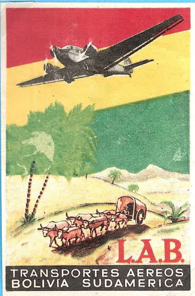 (Collections) Early South America flight labels (4), Lloyd Aereo Boliviano, red/yellow/black airline labels (2) showing Junkers JU 52/3 flying over an oxcart, 9x6cm rectangle, scarce c 1929; Deutsche Lufthansa South Atlantic service, multicoloured gummed advertising label, 50x32mm, 1936; Lloyd Aereo Boliviano, red/blue/silver airline label showing eagle head over wings company logo, 9cm circle, c1948..See Website for full size scan of each item.