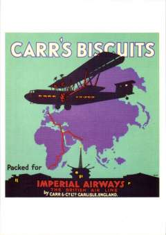 (Ephemera) Imperial Airways attractive unused multicoloured PPC reproduction, 15x10cm, of IAW poster showing Handley Page airliner HP42 in flight