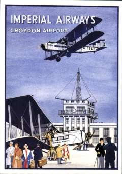 (Ephemera) Imperial Airways attractive unused multicoloured PPC reproduction, 15x10cm, of IAW poster showing Croydon Airport and control tower with IAW airliner G-EBLF flying overhead.