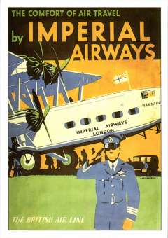 """(Ephemera) Imperial Airways attractive unused multicoloured PPC reproduction, 15x10cm, of IAW poster showing front end of airliner 'Hannibal' on tarmac and 'The Comfort of Air Travel by Imperial Airways/The British Line"""" text."""
