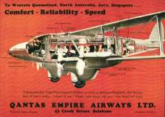 """(Ephemera) Qantas Empire Airways """"To Western Queensland, North Australia,Java,Singapore...."""", red/black/brown PPC showing detailed cross section of an Imperial Flying Boat in flight showing smoking room, promenade deck, engines, etc, superb unused multicoloured repro PPC from Qantas Historical Archives."""