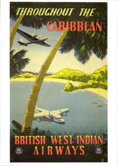 """(Ephemera) BWIA, British West Indian Airways, attractive unused reproduction  PPC taken from an original red/green/yellow/blue poster by Padden, showing artist's impression of flying boat moored in cove, with """"British West Indian Airways""""  and """"Throughout the Carribean"""" logos."""