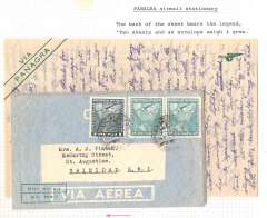 """(Ephemera) Panagra airmail stationary, used green/cream folded letter sheet , 24x20cm, bearing legend """"Two sheets and an  envelope weigh 4 grms"""", with its original 14/12/1950 airmail envelope flown from Santiago to Trinidad, bs 22/12. Uncommon."""