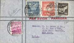 (Ephemera) Panagra airmail stationary, green/grey airmail envelope with 'Par Avion - Panagra' in red, flown from Santiago (13/11/1935) to New York, no arrival ds.