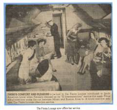 (Ephemera) PANAGRA, original newspaper cutting, May 1952, showing photo (140x140mm) and 36 word of text, of the Fiesta Lounge aboard the 'Interamericano'  19 hour service from Miami to Buenos Aires.