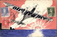 (Ephemera) Scarce special postcard issued by Air France for Christmas 1934 showing artist's rendition of an airplane in flight over water. Postmarked Buenos Aires December 22, 1934 and addressed to Paris with no arrival b/s. The stamps where affixed on the picture side of the card. The card is reproduced in Collot and Cornu. Ligne Mermoz. p. 202.
