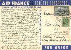 (Ephemera) Special Christmas illustrated Air France post card issued in Uruguay advertising airmail service of 3 days only between South America and Europe (message partially written on the picture side of the card). The Montevideo postmark is illegible but the card is dated December 23, 1939 and addressed to Paris. It probably crossed the South Atlantic on Christmas Day 1939 in the Farman 2200 ?Ville de Natal?. Pilot Marcel Reine was accompanied by a crew of 4. Reine and famous Aeropostale pilot Henri Guillaumet were killed some 11 months later when their military plane was shot down over the Mediterranean. Card has faint crease (see scan) but it is much scarcer than the similar Brazilian card advertising the service in two days.  World War II began on September 1, 1939, when Germany attacked Poland.