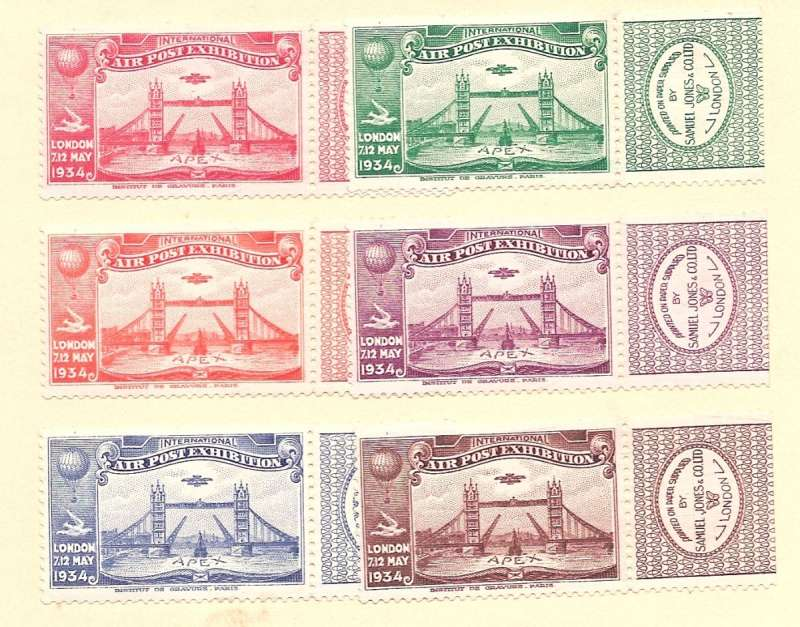 (Ephemera) GB 'Apex' International Air Post Exhibition, May 7-12, 1934, set of six each with tab, unmounted mint.