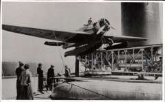 (Ephemera) First catapult mail from S.S.Bremen, July 22, 1929, plane D 2271 on the catapult on board the S.S.Bremen with Capt, von Studnitz aloft and passengers watching. B&W photoscan, 14x8cm.