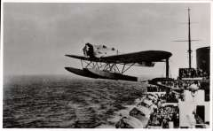 (Ephemera) First return catapult mail from S.S.Bremen, August 2, 1929, plane leaving the catapult on board the S.S.Bremen piloted by Capt, von Studnitz . Original B&W photoscan, 13x8cm.