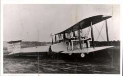 (Ephemera) Vickers 'Vimy Rolls' aeroplane, original London Science Museum B&W photograph, side view, 14x9cm.  A modified World War I Vickers Vimy bomber, in which Alcock and Brown made their first non-stop transatlantic flight in June 1919 from St. John's, Newfoundland, to Clifden, Connemara, County Galway, Ireland. Winston Churchill presented them with the Daily Mail prize for the first crossing of the Atlantic Ocean in 'less than 72 consecutive hours' and they were knighted at Windsor Castle by King George V. Also neat hand drawn map of route