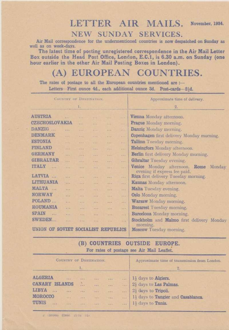 (Ephemera) Letter Air Mails New Sunday Services to 18 European Countries and 5 Countries Outside Europe, published November 1934, rates for letters and pc's, and approximate time of delivery.