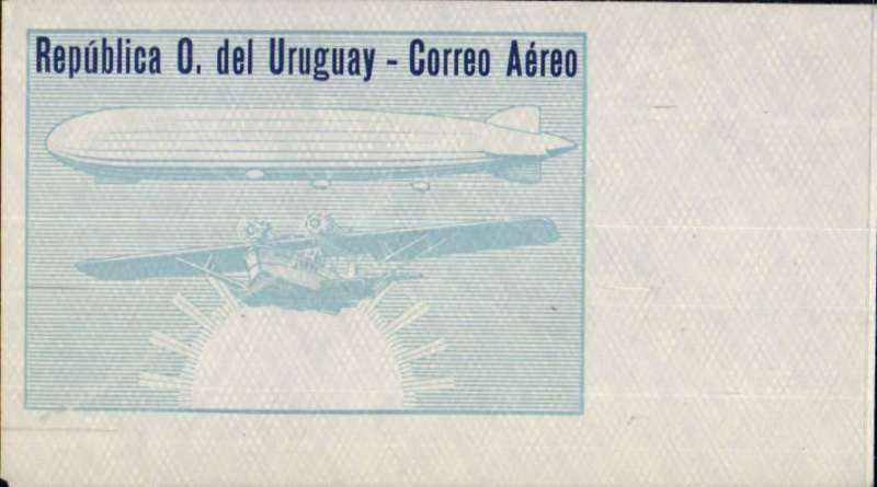 "(Ephemera) Uruguay, rare early airmail enveope, gerey/pale blue/blue, with ""Republica O. del Uruguay - Correo Aereo"" text and engraving of airship and flying boat, unused."