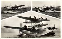 (Ephemera) The 'Short Mayo' composite aircraft G-ADHK at mooring with insets of 'Mercry' and 'Maia', original Valentine's B&W photocard, unused. It undertook the First Imperial Airways Transatlantic Cargo Flight on 220 July, 1938.,