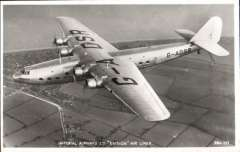 """(Ephemera) Imperial Airways """"Ensign"""" air liner in flight, fine original Valentines B&W PPC, unused.  Armstrong Whitworth's third airliner type, the Ensign, was the largest machine built in pre-war days for Imperial Airways Ltd. and, like the Atalanta, was a four-engine high-wing cantilever monoplane"""