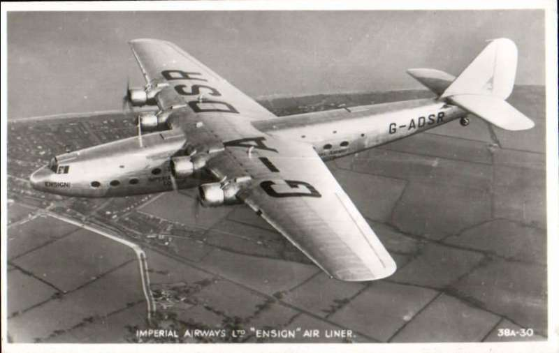 "(Ephemera) Imperial Airways ""Ensign"" air liner in flight, fine original Valentines B&W PPC, unused.  Armstrong Whitworth's third airliner type, the Ensign, was the largest machine built in pre-war days for Imperial Airways Ltd. and, like the Atalanta, was a four-engine high-wing cantilever monoplane"