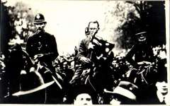 (Ephemera) 1919, attempted non-stop Atlantic crossing, unused original B&W PPC showing Harry Hawker's triumphant return on horseback with police escort. On May 18, 1919 – Harry Hawker and Lieutenant Commander Kenneth Mackenzie-Grieve attempted a non-stop Atlantic crossing but were forced to ditch their aircraft only 2,253 km (1,400 miles) after leaving Newfoundland. London's Daily Mail newspaper awarded them a prize of £5,000 for their attempt anyway.